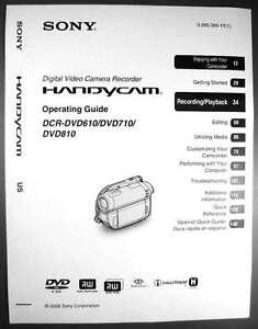 Dcr-dvd810 sony handycam camcorder manual.