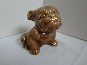 Vintage-Shawnee-Pottery-Bulldog-Figurine-Brown-Planter