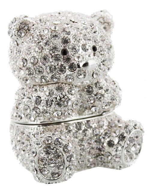 Diamante Teddy Bear Trinket Box Baby Shower Christening Birthday Keepsake Gift
