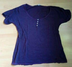 Kleidung & Accessoires 44/46 Niedriger Preis Motiviert T-shirt Shirt Damen Lila Uni Knöpfe Gr