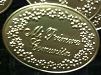 12 Mi Primera Comunion/communion Tin Silver Tags For Favors,centerpieces