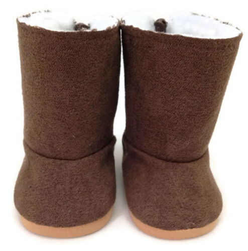 """Brown Suede Boots Shoes with Fur Lining made for 18/"""" American Girl Doll Clothes"""