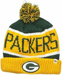 Details about NFL Green Bay Packers  47 Calgary Cuff Knit Beanie with Pom c7d06725ae1
