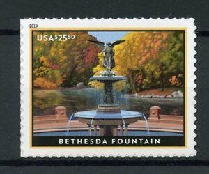 USA-2019-Gomma-integra-non-linguellato-Bethesda-Fountain-NEW-YORK-CITY-1v-S-Un-Set-Alberi