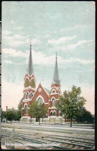 PETERSBURG VA Postcard Washington Street Catholic Church Antique Town View Vtg