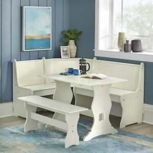 Kitchen Nook Breakfast Set Wood Corner, White Dining Room Table Bench
