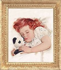 BED TIME with TEDDY BEAR Dollhouse Miniature Framed Picture - MADE IN AMERICA