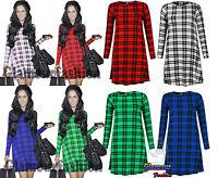 Celeb Vicky Pattison Tartan Check Smock Swing Womens Tunic Mini Dress Shift Top