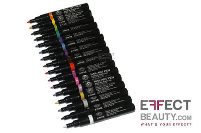 Nail Art Pens - Felt Tip Point - 16 Colours | FREE UK POST | English Supplier
