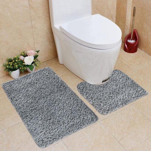 2 Piece Bath Mats Non Slip Toilet Pedestal Soft Foam /& Shaggy Rug Bathroom Set