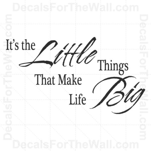 It/'s the Little Things That Make Life Big Wall Decal Vinyl Quote Saying Art IN51
