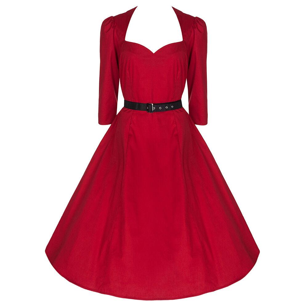 Pretty Kitty Rockabilly 50s Jahre Rot Vintage 3 4 Ärmel Swing Retro