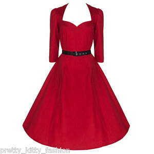 PRETTY-KITTY-ROCKABILLY-50s-RED-VINTAGE-3-4-SLEEVE-SWING-RETRO-PROM-DRESS-8-22