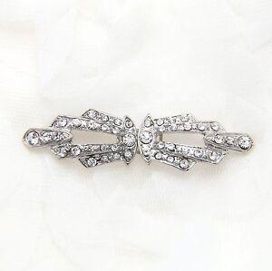 Rhinestone Crystal Wedding Bridal Wrap Ribbon Belt Closure Hook and Eye Clasp