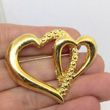 Vintage AAI Signed HEART in a HEART BROOCH PIN Gold Tone Costume Jewelry