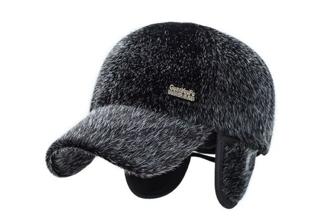 55d9a501d7a Men Winter Baseball Cap With Ear Flaps Warm Adjustable Faux Mink Fur Gift