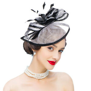 f81cfea7f76 Image is loading A268-Womens-Sinamay-Quill-Fascinator-Cocktail-Hat-Headband-