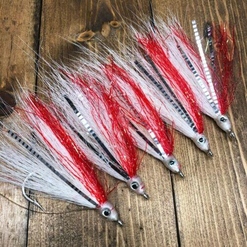 aMustad 5 Red Fish Teaser Flies Fluke Flounder Striper Bass Fishing Rig 5//0 173A