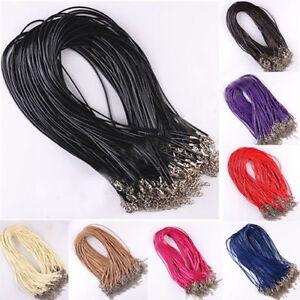 10stk-Einstellbare-Leder-Halskette-Herren-Anhaenger-Ketten-Karabiner-Schmuck-Y5D0