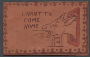 1906-VINTAGE-LEATHER-POSTCARD-POSTED-to-RHINELANDER-WIS-I-WANT-TO-COME-HOME