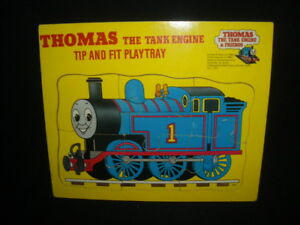 Vintage-1980s-Wooden-Thomas-the-Tank-EngineTip-amp-Fit-Play-Tray-Michael-Stanfield