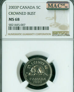 2003-P-CANADA-CROWN-BUST-5-CENTS-NGC-MAC-MS68-PQ-2ND-FINEST-GRADED-SPOTLESS