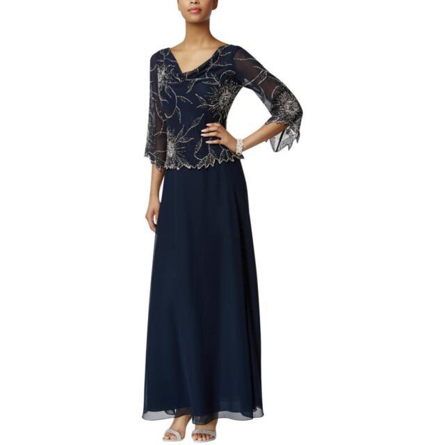 6b91182fc61 Buy JKara Womens 1090 Navy 3 4 Sleeve Maxi Formal Dress 8 B B online ...