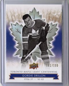 GORDIE-DRILLON-17-18-Upper-Deck-Centennial-Maple-Leafs-58-GOLD-Exclusives-Card