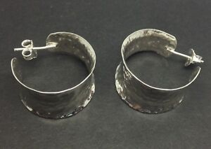 Image Is Loading Hammered Solid Sterling Silver Hoop Earrings New 24mm