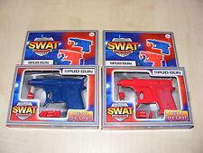 2 X para niños niños Die Cast Metal Swat Academia Potato Spud Pistola De Juguete 1 Rojo 1 Azul