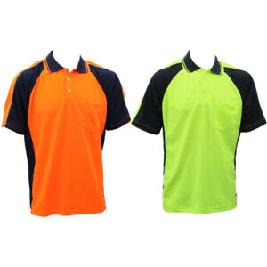 Hi-Vis-Safety-Polo-Workwear-Short-Sleeve-Shirt-Top-w-Chest-Pocket-Two-tone