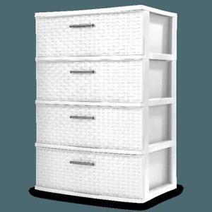4 Drawer Storage Tower Plastic Dresser Chest of Drawers Weave Furniture Bedroom