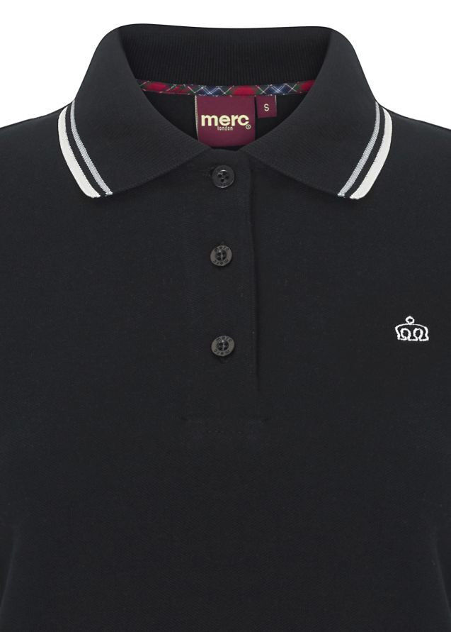 Ladies Merc London Mod Classico Retrò Slim Fit Soft Soft Soft CottonPolo Camicia Rita-Nero 38cf2d