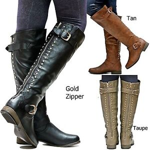 624b3fb8fe75 New Women FL23 Tan Black Taupe Brown Gold Studded Riding Knee High ...