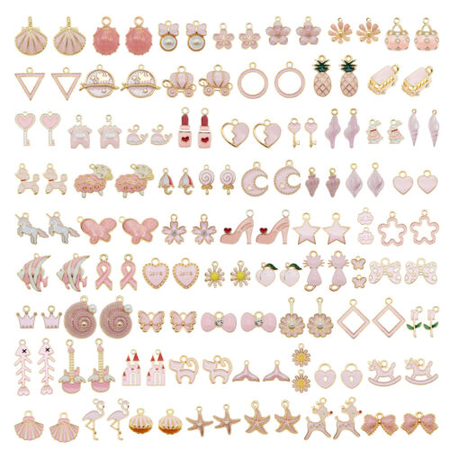 20-pack Pink Enamel Metal Mixed Kinds Charms Earrings Necklaces Pendants 1-4cm