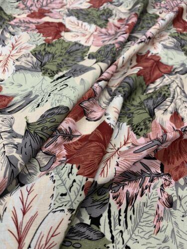 "1.35m Piece Multicoloured Leaf Print Fabric 100/% Viscose 60"" Dresses Clothing"