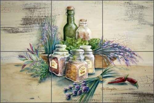 Ceramic Tile Mural Backsplash Broughton Herbs Spices Kitchen Art EC-RB002