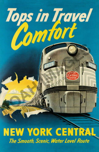New York Central vintage train travel poster 12x18