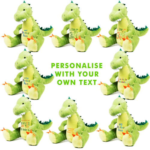 Large 45cm Personalised Dinosaur Soft Plush Teddy Embroidered with your Name