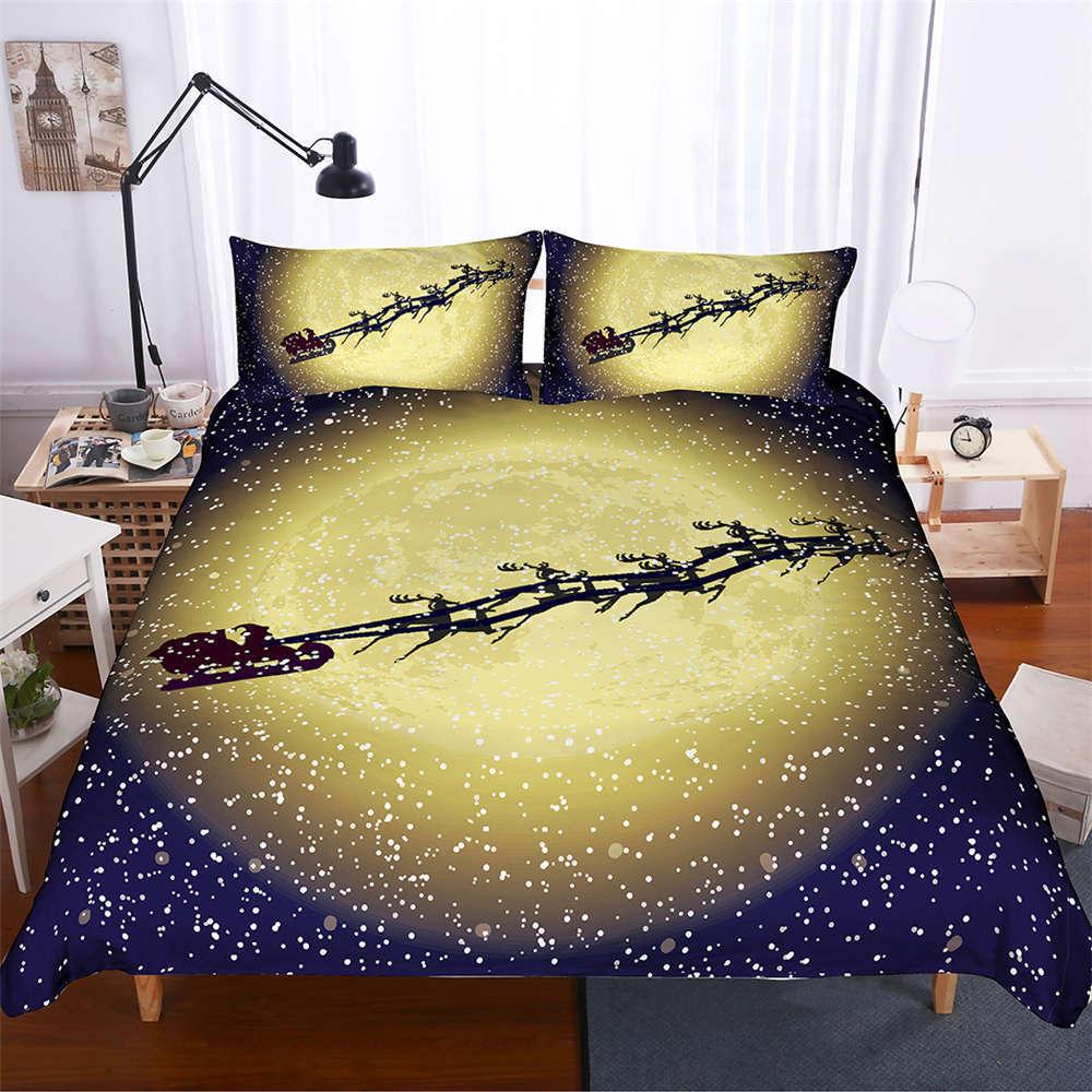 Nice Snowflakes Flying Sky 3D Digital Drucken Bettding Duvet Quilt Startseite Pillowcase