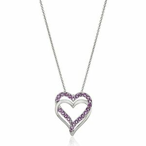 Double Heart Natural Amethyst Pendant in Sterling Silver, 18