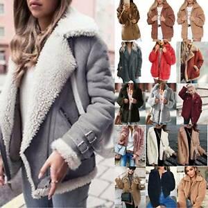 Women Teddy Bear Fluffy Coat Warm Winter Fleece Fur Jacket Cardigans Outerwear