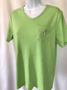 NWT-Quacker-Factory-Women-039-s-Sz-S-Short-Sleeve-T-Shirt-With-Zipper-Detail