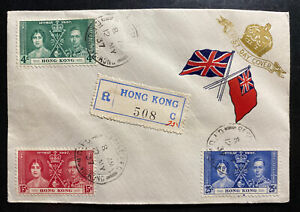 1937-Hong-Kong-First-Day-Cover-FDC-King-George-VI-Coronation-Canton-China