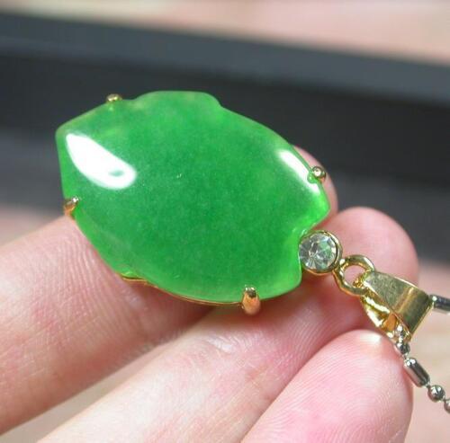 Gold Plate CHINESE Green JADE Pendant Lotus Flower Ruyi Diamond Imitation 274091