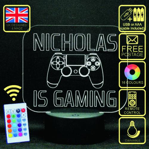 est de jeu DEL Changement de Couleur Enfants Lampe de chevet Personnalisé de Playstation 4
