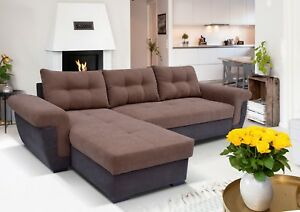 New Corner Sofa Bed With Storage In Brown Soft Fabric Really