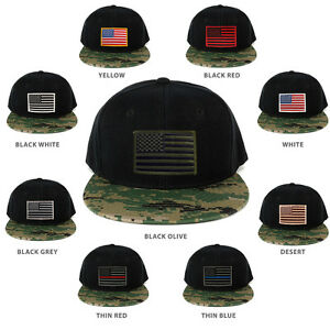 70243dd449b USA American Flag Embroidered Iron on Patch Camo Bill Snapback Cap ...