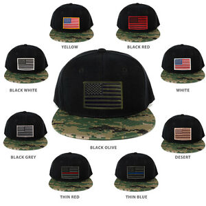USA American Flag Embroidered Iron on Patch Camo Bill Snapback Cap ... 8a309d5dfba