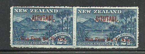 Album Treasures Aitutaki Scott # 3 2 1/2p Overprint - pair(2) Mint Hinged